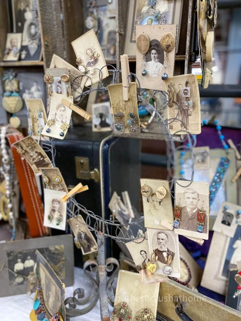 unique handmade jewelry displayed on vintage photos