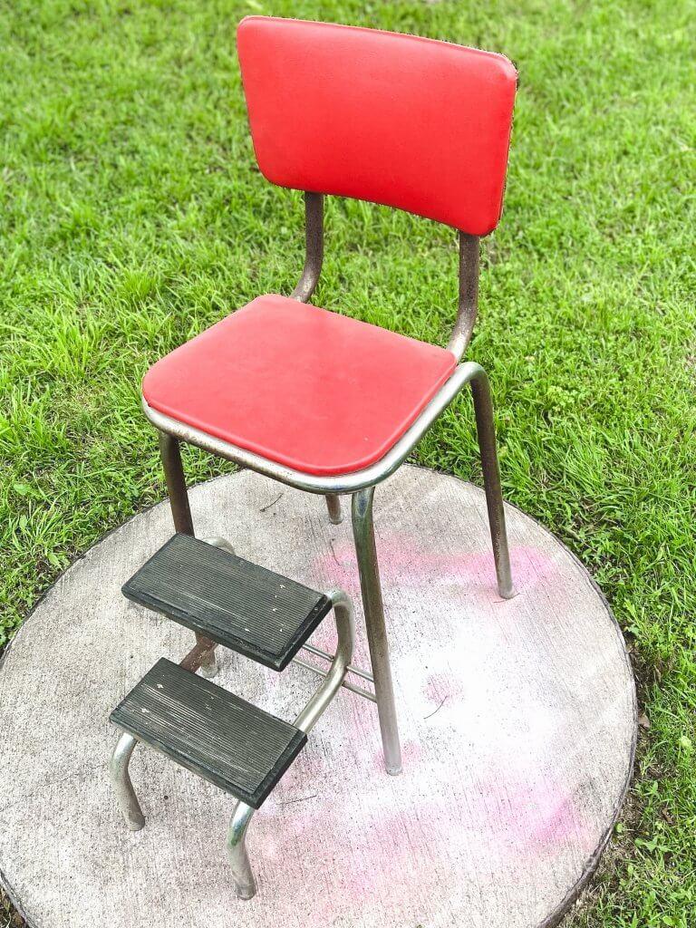 vintage step stool before makeover