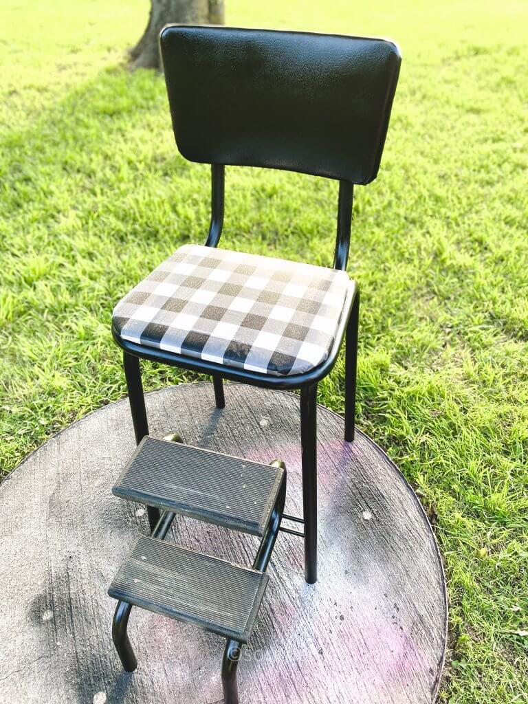 finished vintage step stool with buffalo plaid