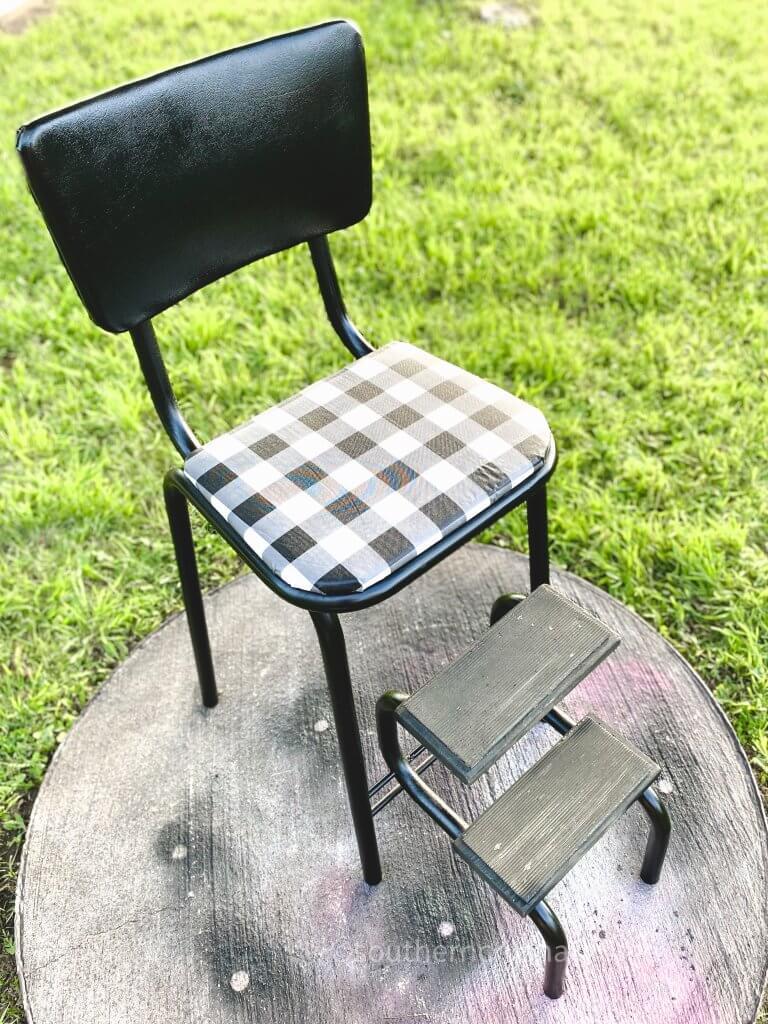buffalo plaid vintage step stool makeover