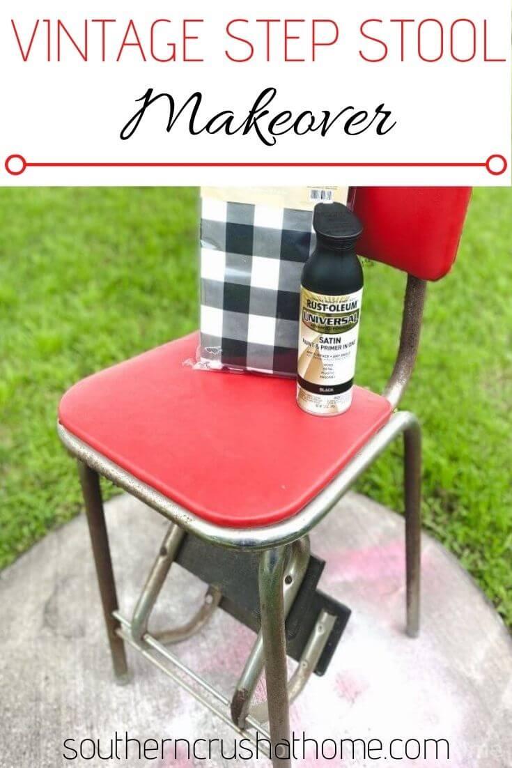 supplies for vintage step stool makeover