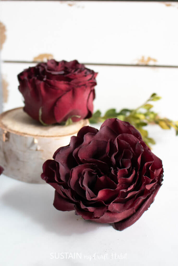 dried red roses with wood slice