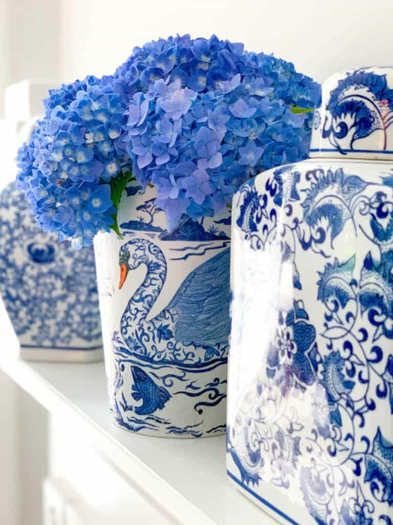 Chinoiserie vases with hydrangeas