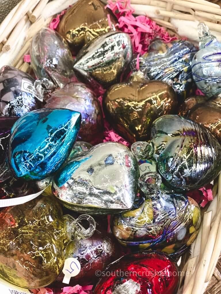 glass colored hearts