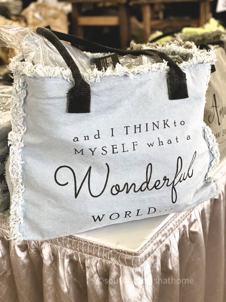 fabric bag with wonderful world quote