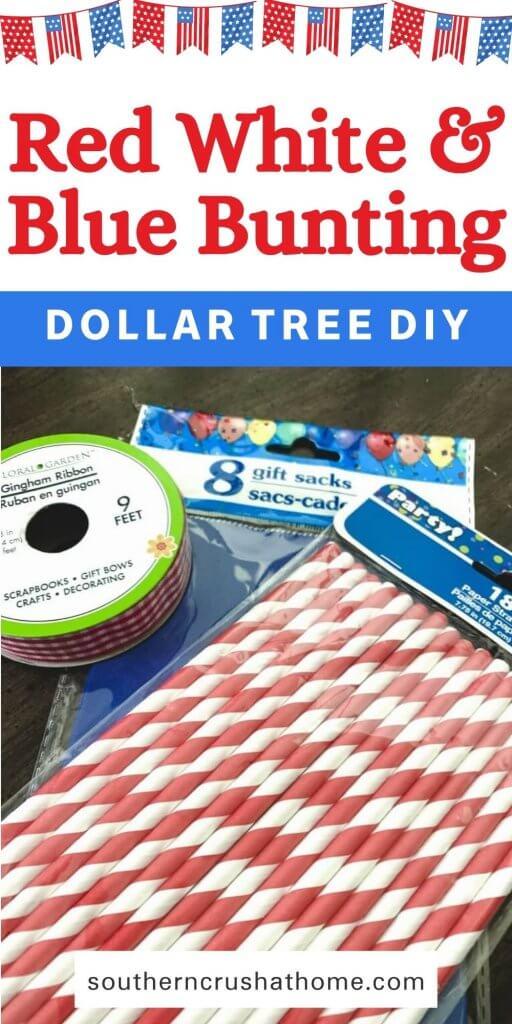 Dollar Tree Gift Bag DIY Patriotic Bunting Pin Image