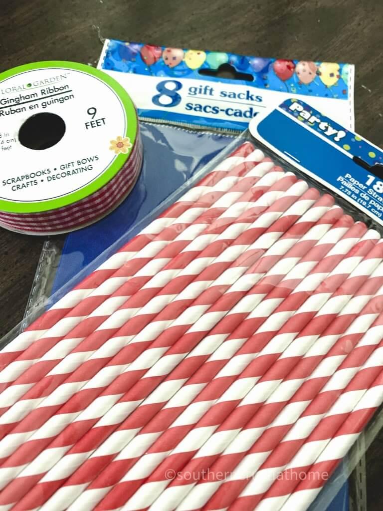 Dollar Tree Gift Bag Patriotic Bunting supplies