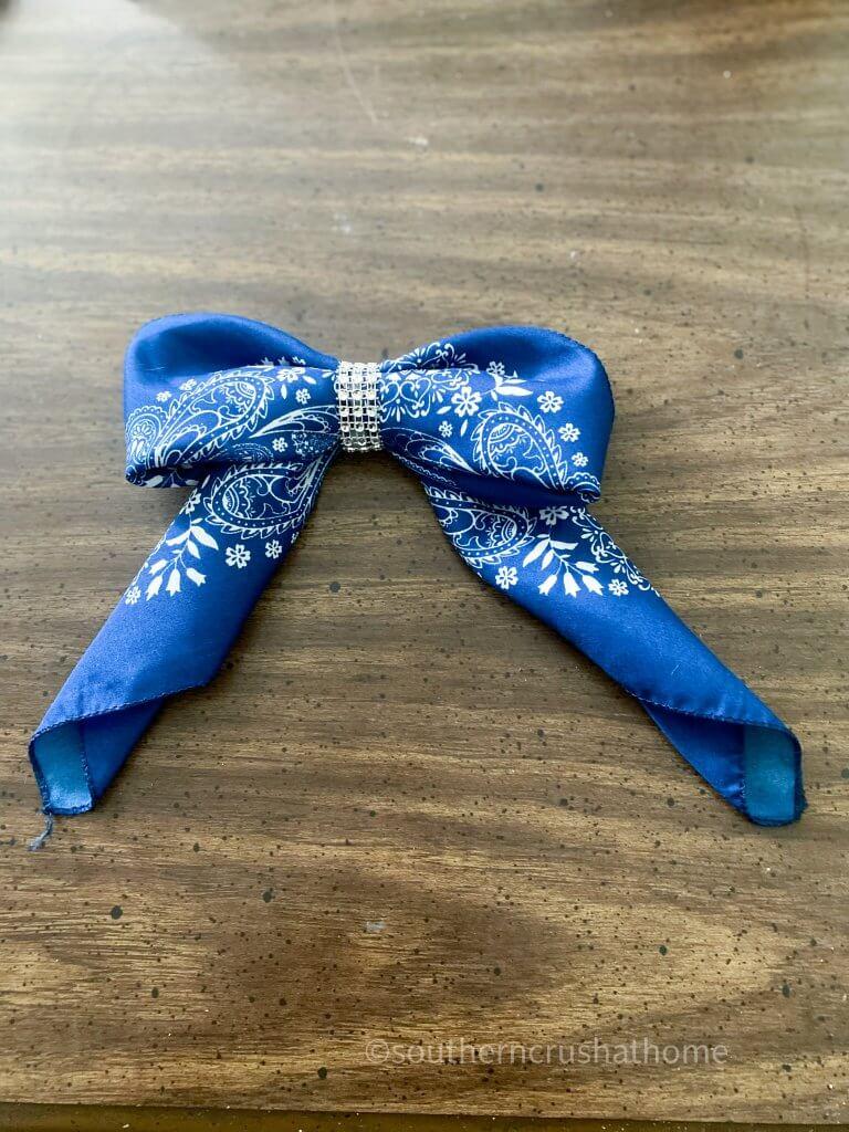 finished bandana bow on table