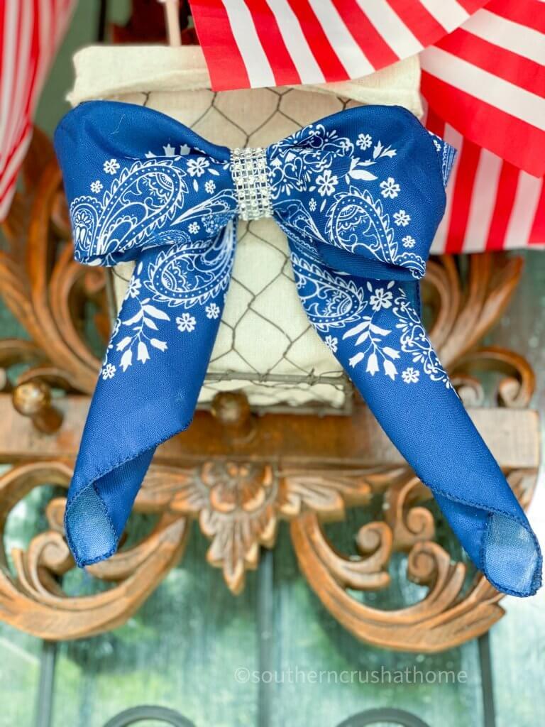 bandana bow on wreath