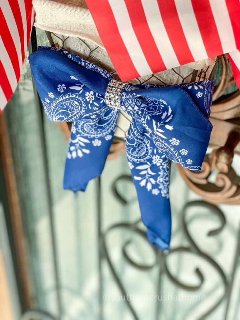 patriotic bandana bow on wreath