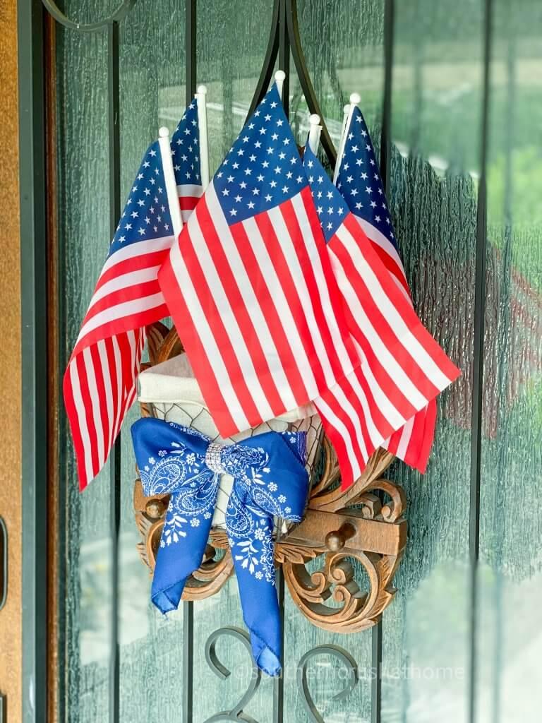 bandana bow with flags on wreath