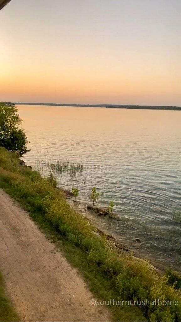view of lake murray ok at sunset