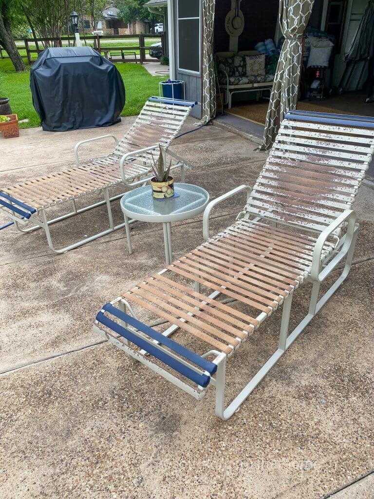 patio furniture before repairing