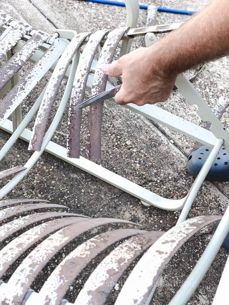 cutting pieces from patio furniture
