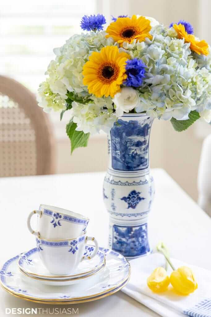 blue and white chinoiserie vase with flowers