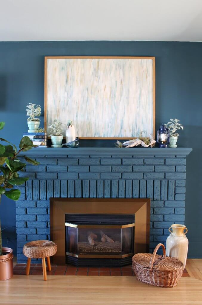 blue painted brick summer mantel