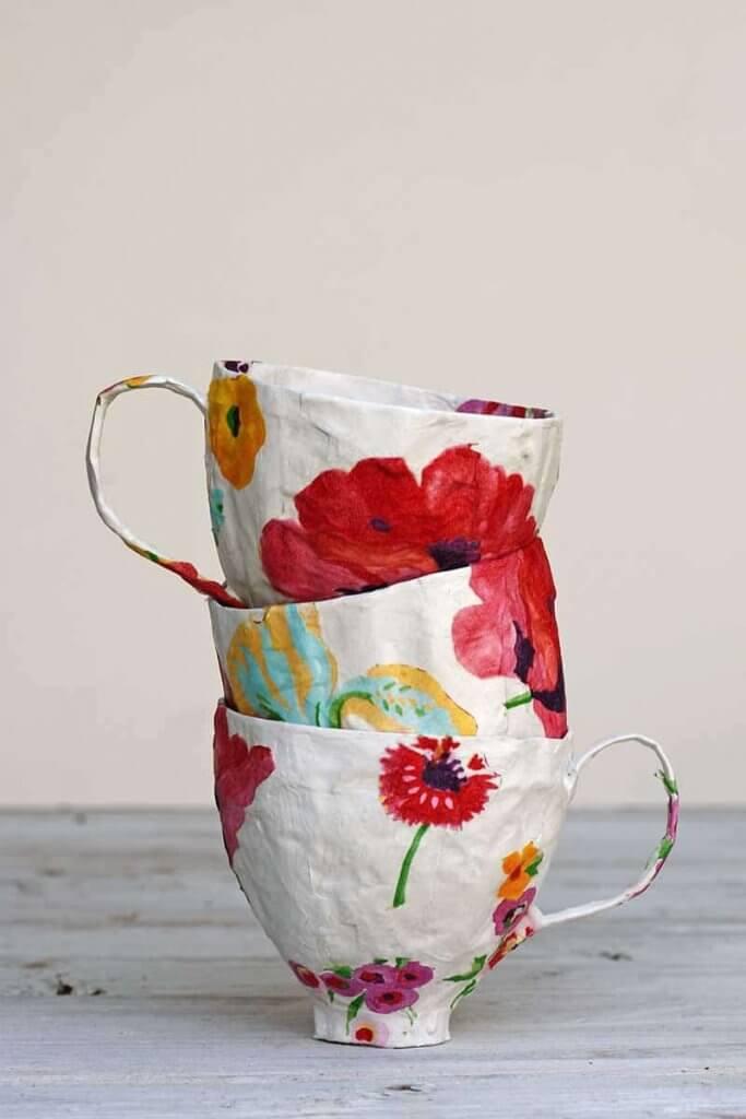 mod podge tea cups