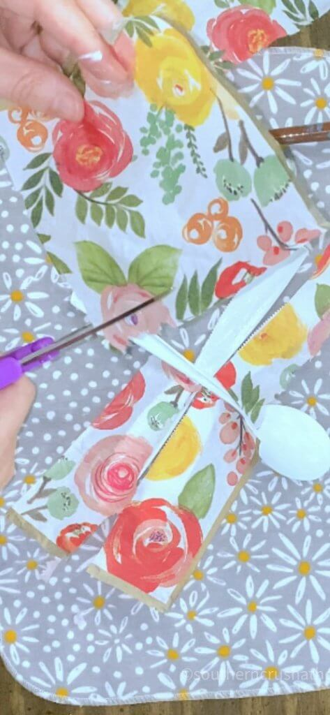 cutting napkins for dragonfly