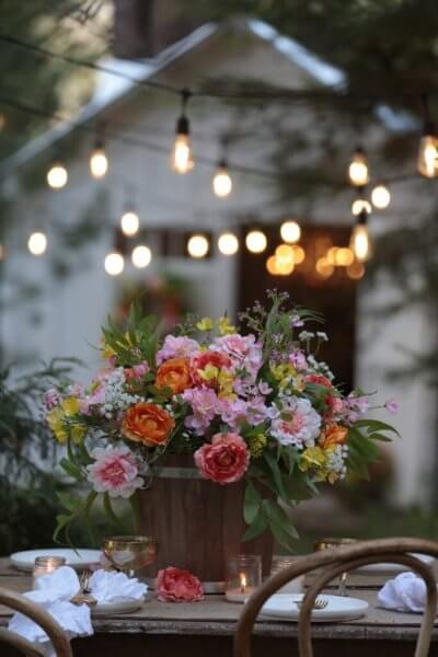 outdoor florals with lights
