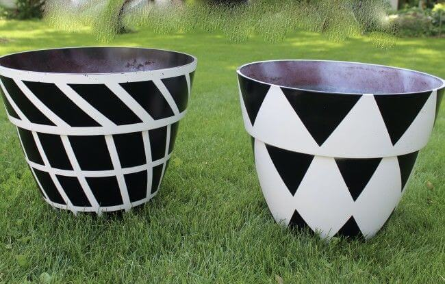 black and white painted pots