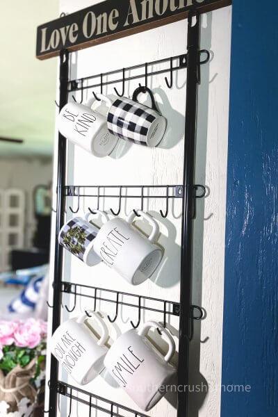 wall mounted mug rack with mugs
