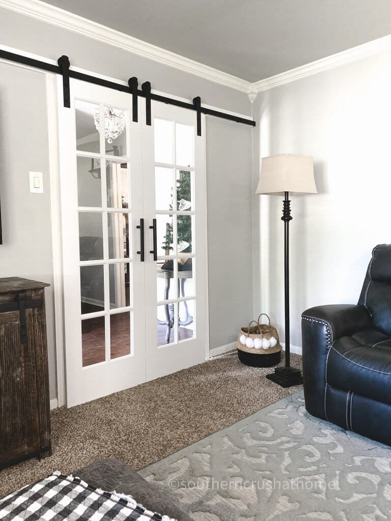 final image of double hung glass french barn doors