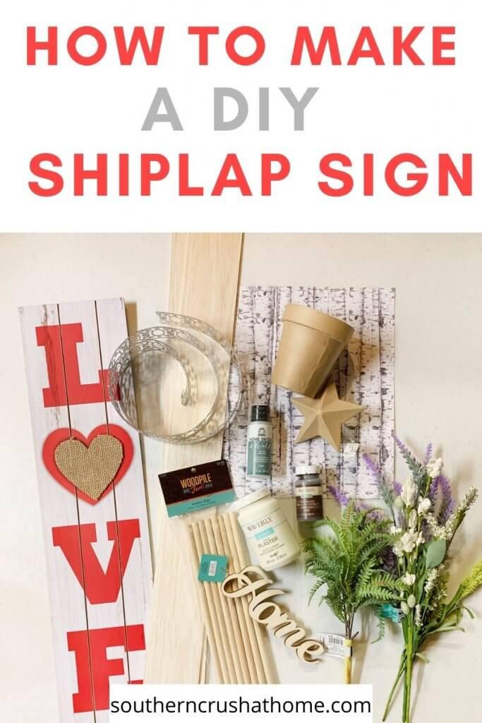 diy shiplap sign supplies pin image