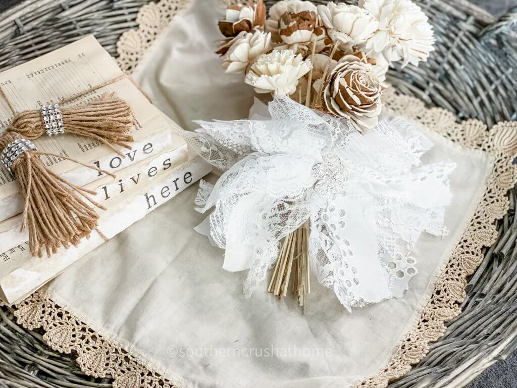lace messy bow styled on ottoman
