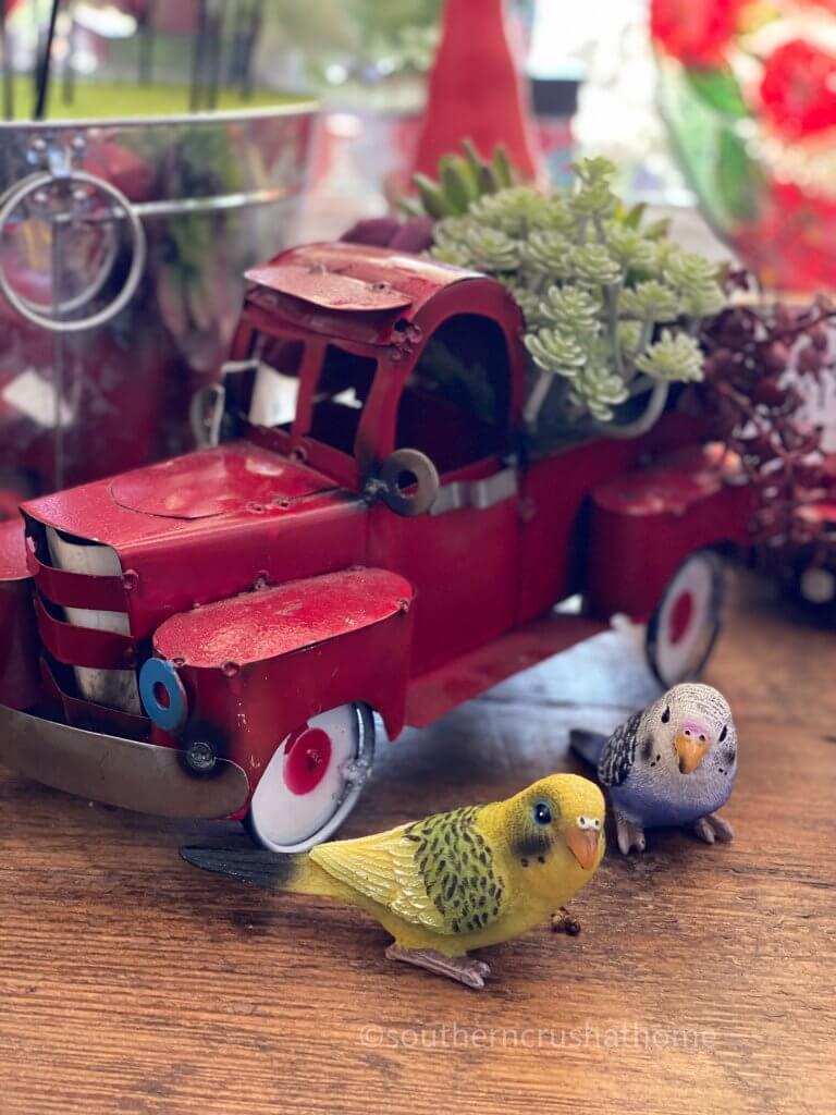 metal red truck