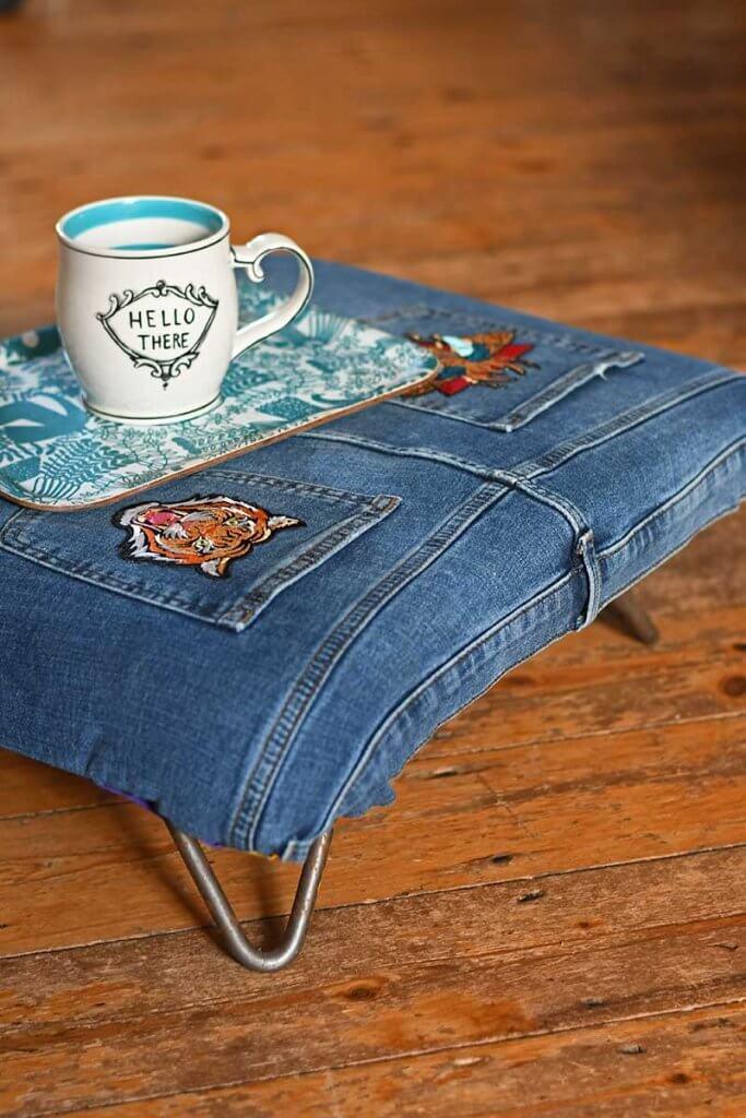 repurposed jean foot stool
