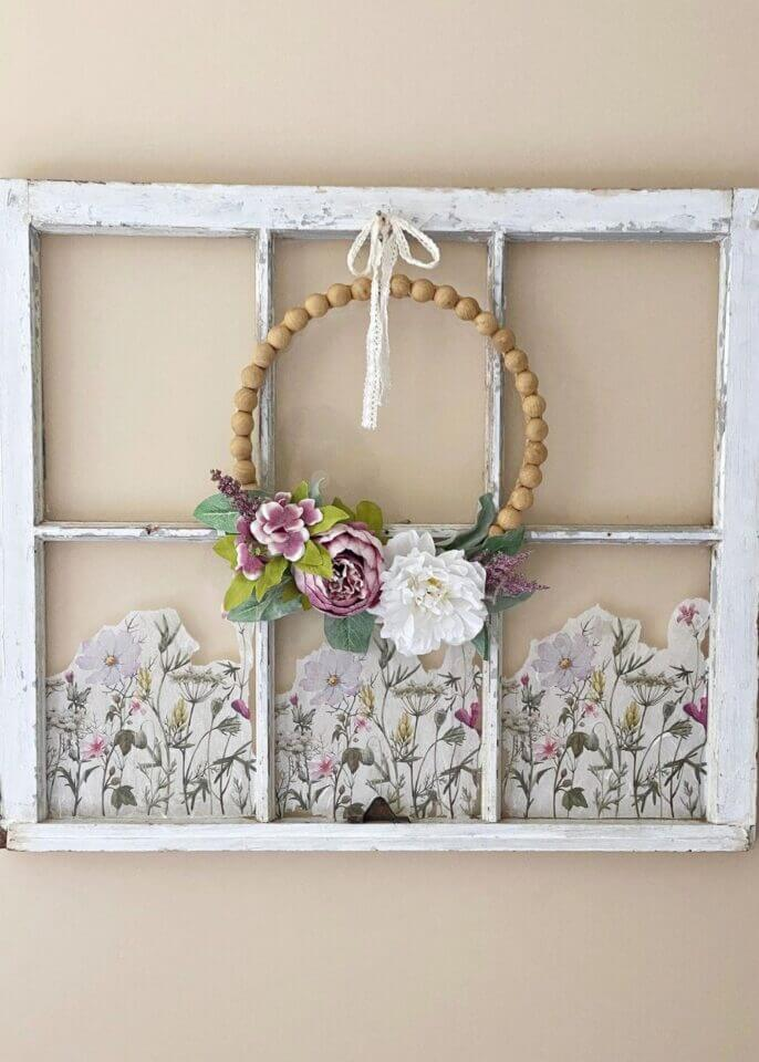 vintage window with decoupage