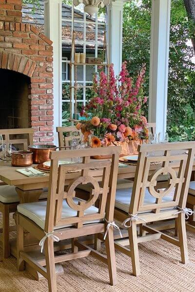outdoor entertaining on the back patio