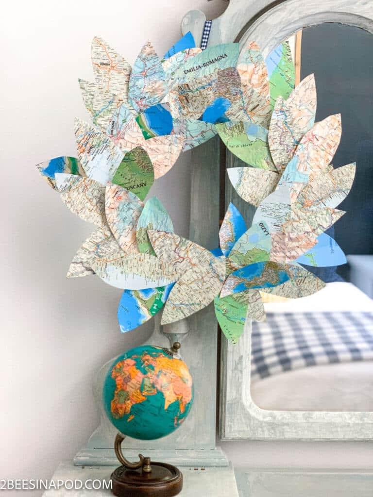 vacation map wreath diy