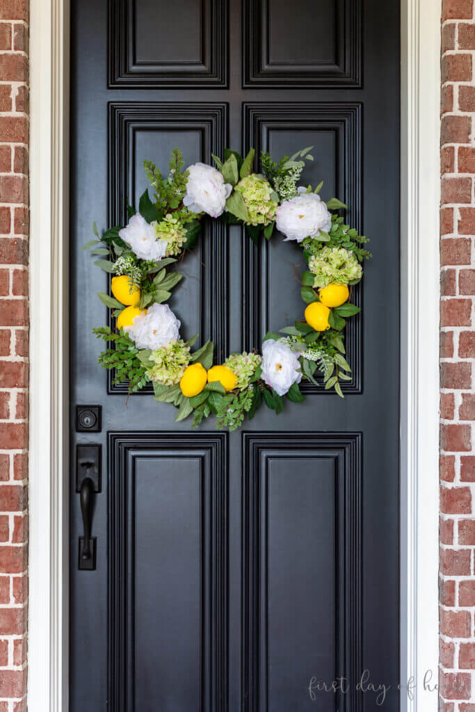 diy lemon front door wreath