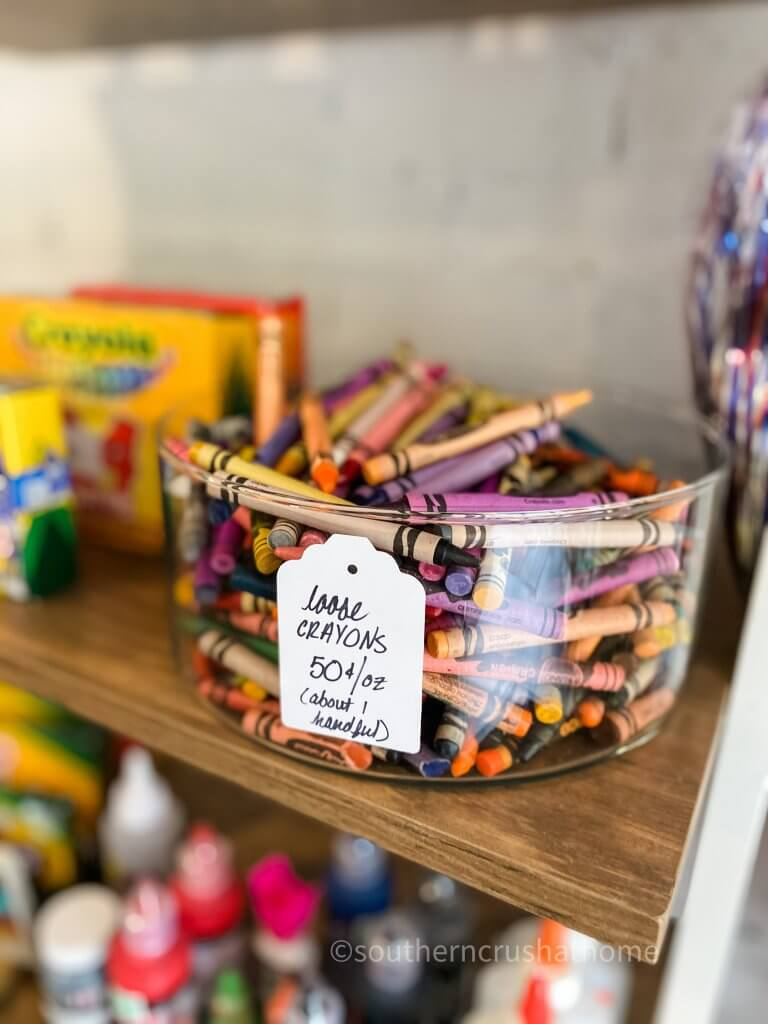 glass bowl of crayons