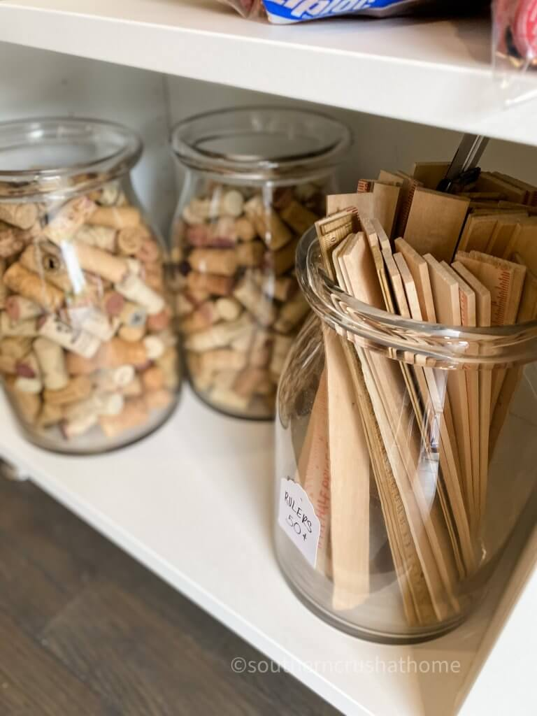 wooden rulers and corks