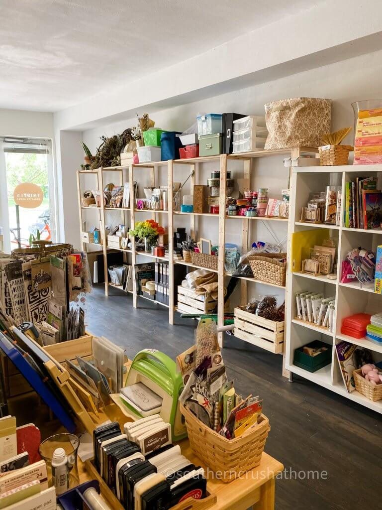 wall of craft supplies