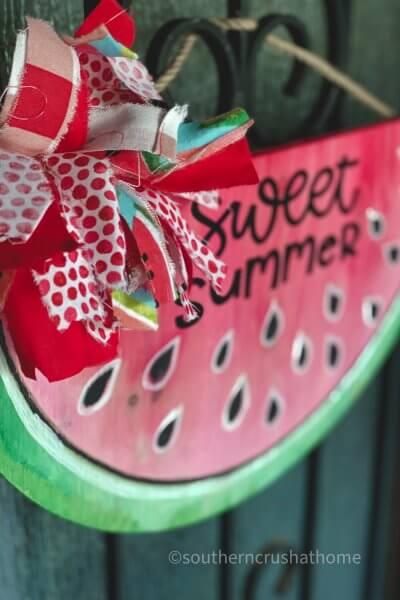 finished watermelon door hanger diy