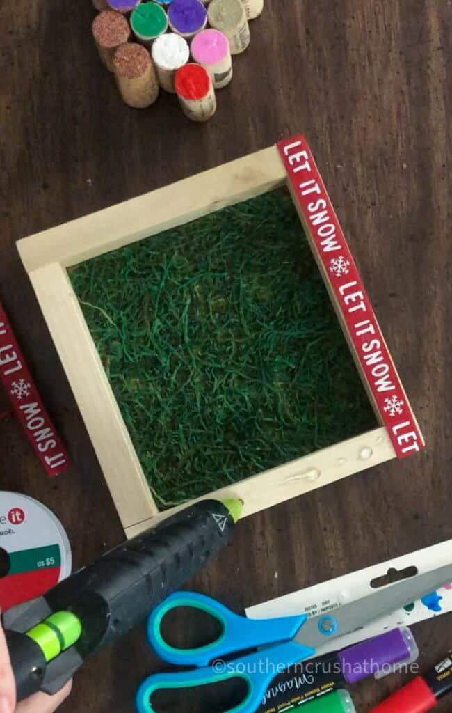 glueing ribbon to base