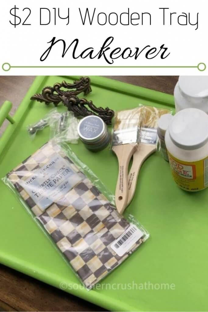 diy wooden tray makeover pin image with text overlay