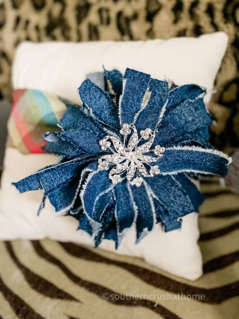 denim messy bow styled on pillow wrap