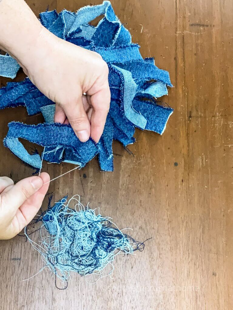 jean scraps for messy bow