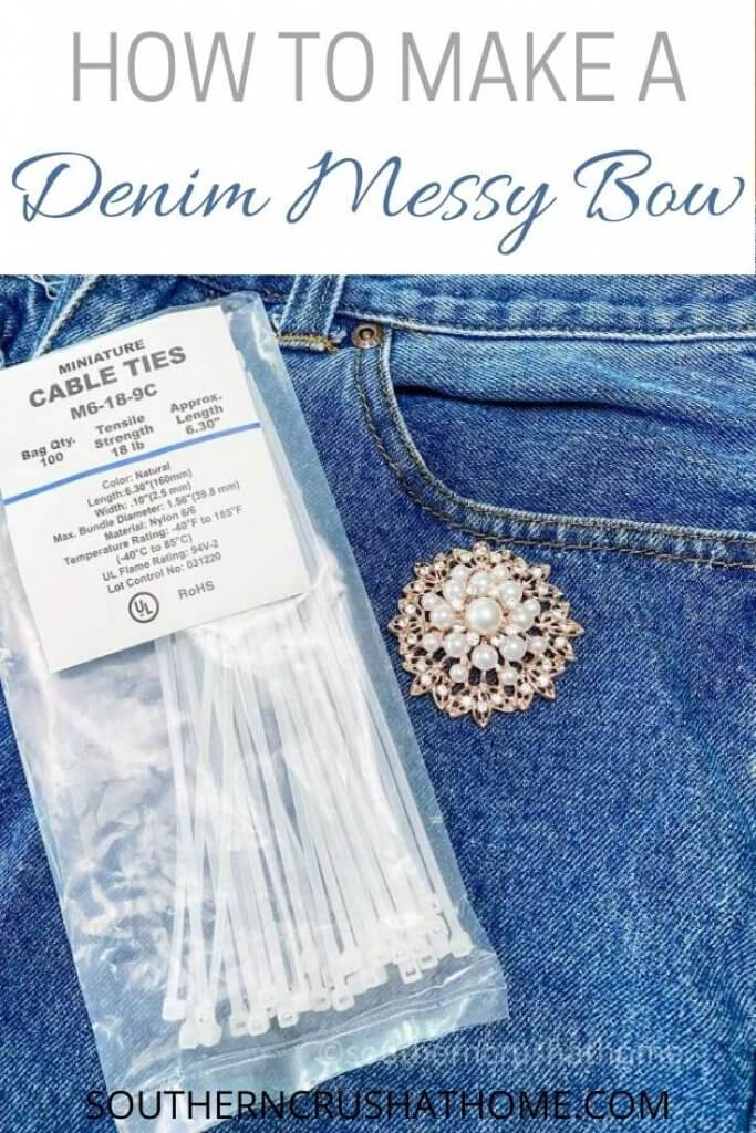 supplies for denim messy bow