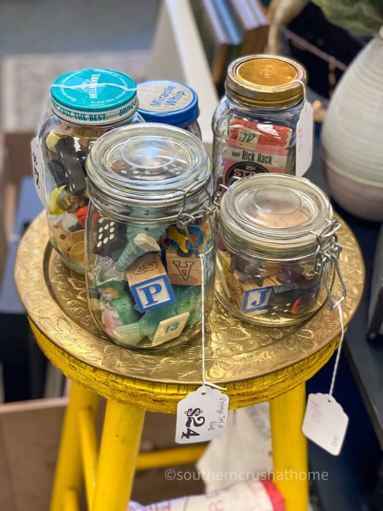 vintage blocks dispayed in mason jars