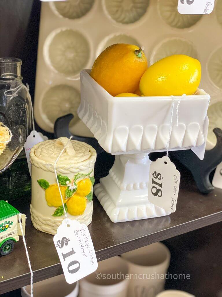 milk glass with lemons display