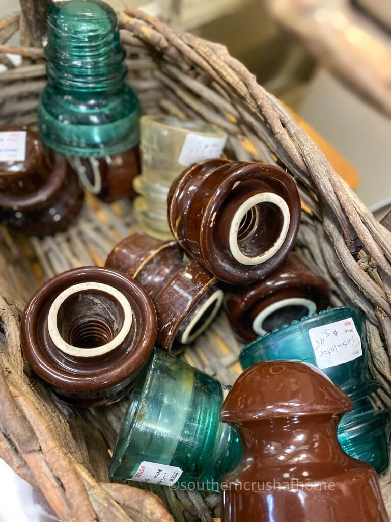 collection of vintage electric insulators