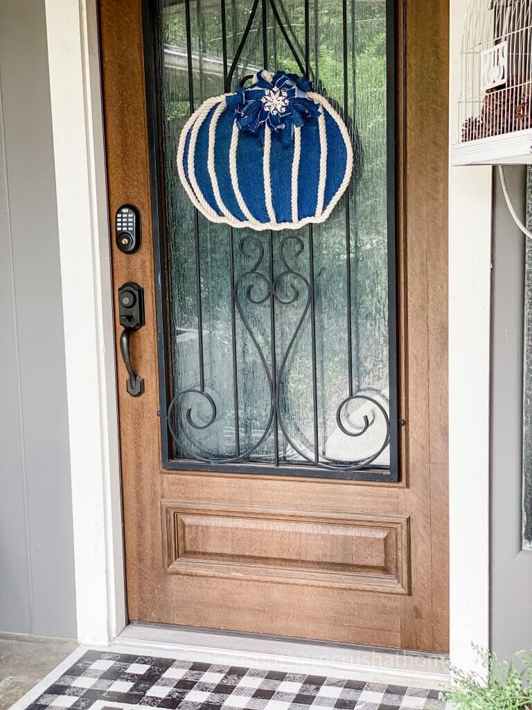 pumpkin wreath door decor on front door
