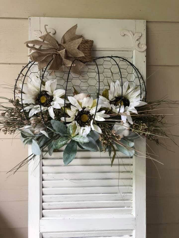 wire pumpkin wreath with sunflowers