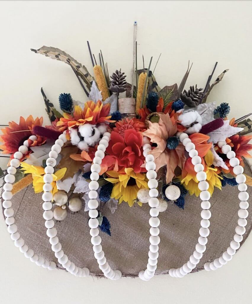 farmhouse style pumpkin wreath