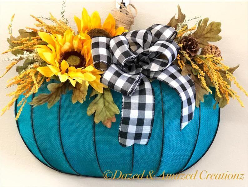 teal pumpkin wreath